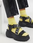 Buffalo - Chunky sandaler i sort læder