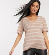 ASOS DESIGN Maternity - sandfarvet t-shirt i hørmix med v-hals og stri...