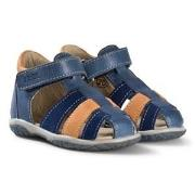 Noël Blue, Navy and Tan Leather Mini Tin Closed Toe Sandals 20 (UK 4)