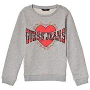 Guess Grey Embroidered Heart Sweatshirt 7 years