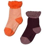 Molo 2-Pack Noella Socks Orange/Forest Berry 17-19 (6-9 mdr)
