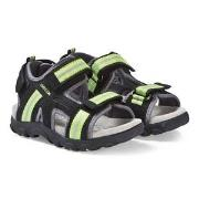 Geox Black and Lime Strada Sandals 36 (UK 3)