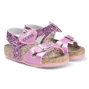 Guess Pink Glitter Cross Strap Sandals 38 (UK 5)