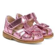 Angulus Metallic Pink Leather Bow Close Toe Sandals 20 (UK 4)