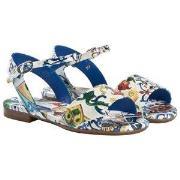 Dolce & Gabbana Blue Majolica Print Patent Sandals 33 (UK 1)